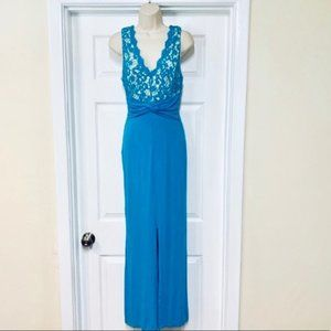 Nikibiki teal crochet maxi dress size small